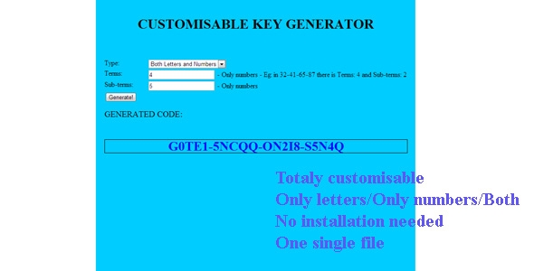 CUSTOMISABLE KEY GENERATOR