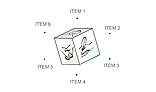 Pseudo 3D cube menu