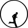 Seamless man running in a circle silhouette loop