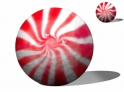3d animation of red peppermint candy spinning loop