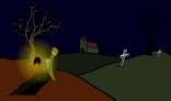 ghost with luciferous pumpkin