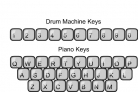 Keyboard drum machine with piano keys