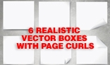 6 Vector Paper Style Boxes, Shadows & Page curl