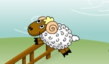 Sheeps jumping over fence animation.