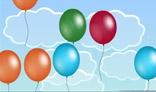 Air balloons flying upwards.