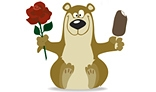 Smiling bear with beautiful red rose and ice cream
