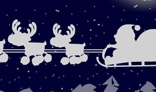 Santa flying for Christmas. Flash animation. 16Kb only. AS1+AS2+AS3 versions.