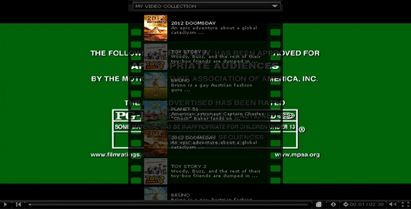 Advanced resizable xml video player with playlist and categories