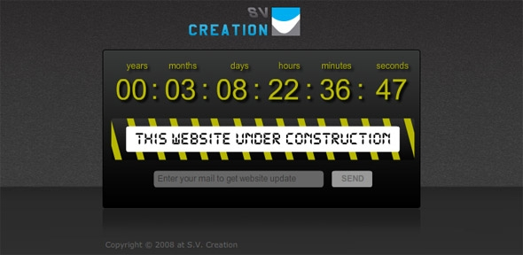 under construction template with coundown and send email site