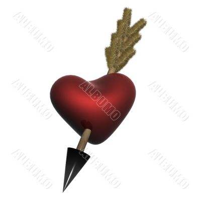 Red heart pierced by an arrow. 3D the image.
