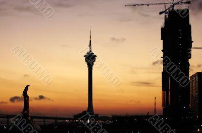 Typical landmark and constructing casino, Macau