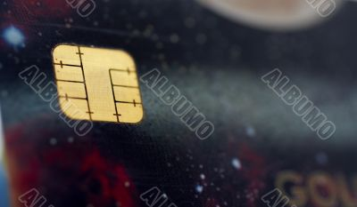 Macro shot of credit card, view of the chip