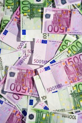 Various Euro Banknotes - Top View