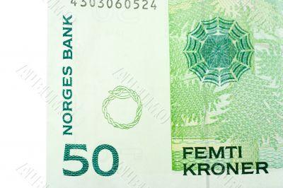 Corner of Fifty Norwegian Kroner banknote