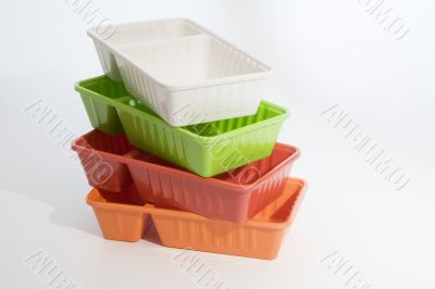 Piled up fast food boxes