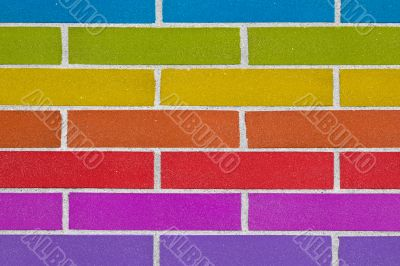 rainbow colorful brick wall background texture