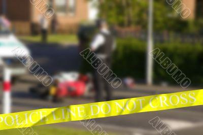 police crime scene - background blurred.