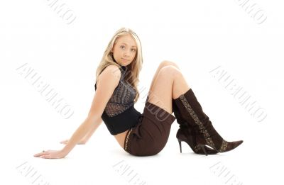 sitting blond in brown shorts and boots #2