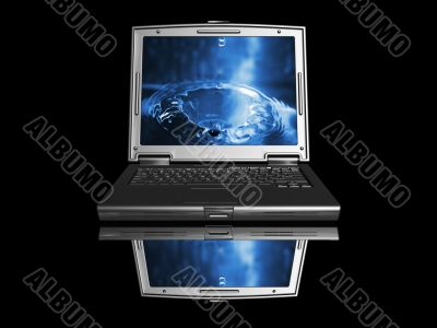 Laptop with water drop