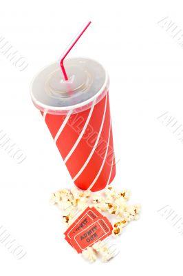 Popcorns, tickets and soda