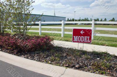 real estate model home sign