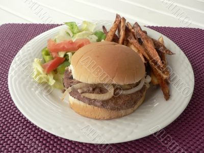 burger meal with salad and fries 3