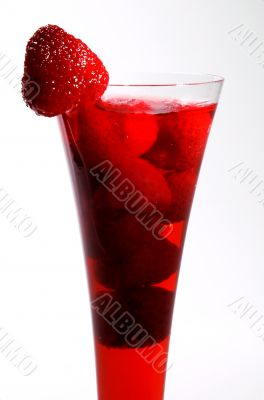 Drink with a strawberry in a glass