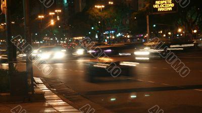 Oncoming traffic, night, blurred headlights