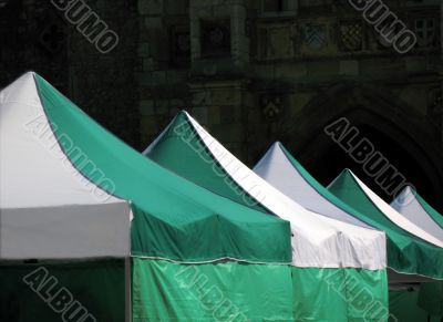 Tent tops in medieval setting