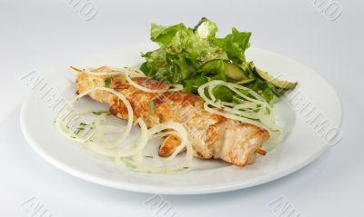 Shish kebab from the hen.