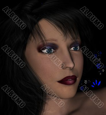 brunette with dramatic makeup