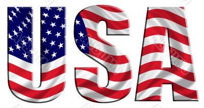 Waving Flag Word USA