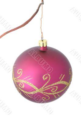 purple christmas ball - isolated