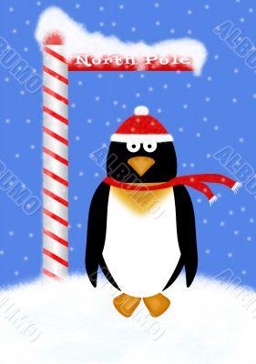 Holiday Penguin Illustration