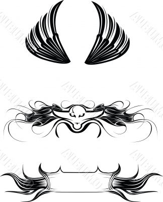 Vector illustrations wings, signs, banner