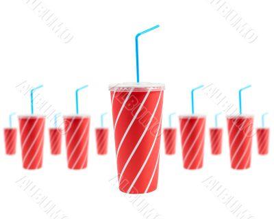 Many soda drinks with blue straw