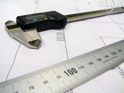ruler and caliper