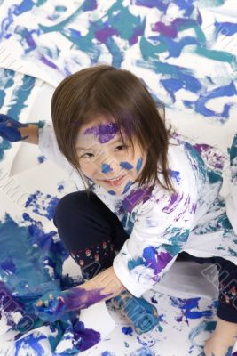 Childhood Girls floor painting