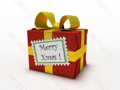 Red gift box isolated on white background with label Merry xmas
