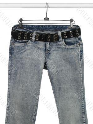 Blue jeans, black leather belt