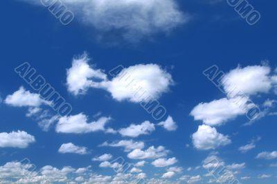 summer sky with cumulus clouds