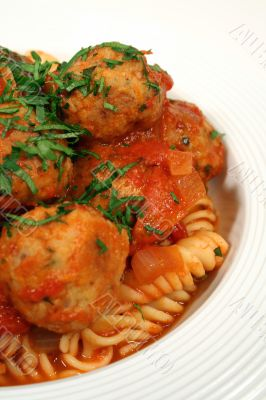 Vertical Of Pasta And Chicken Meat Balls