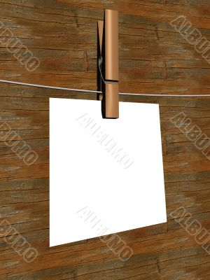 One sheet of a paper hanging on a cord. 3D image.
