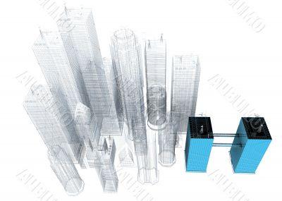 three dimensional blue print of corporate buildings