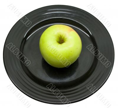 Green apple served at Black Japanese plate 4