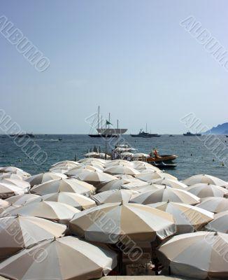 Dense beach umbrellas