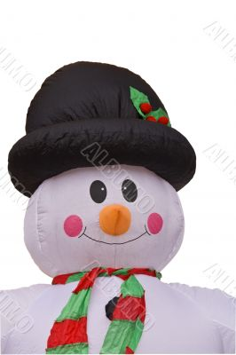 Funny blow-up snowman-clipping path