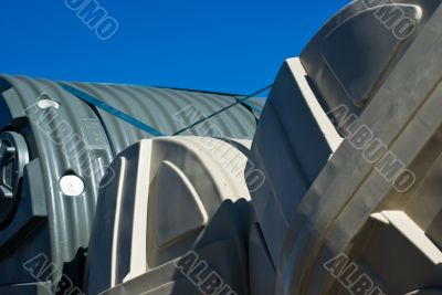 Poly Rainwater Tanks on the Back of a Truck, NSW, Australia