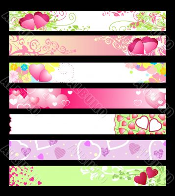 love and hearts website banners / vector / set 2