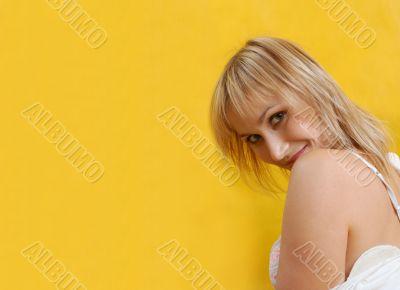 flirting woman in white dress